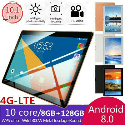 "10.1"" 4G-LTE Tablet Android 8.0 Bluetooth PC 8+128GB Dual SIM GPS Camera"