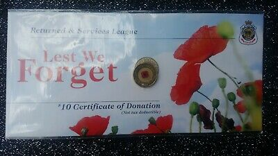 2012. Red Poppy Two Dollar Coin. RSL Lest we Forget.