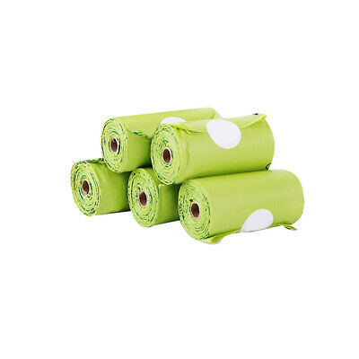 8 Rolls Pet Thick Tie Handle Large Biodegradable PE Dog Poop Bags Green Carrier
