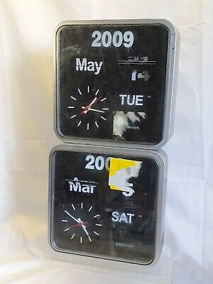 2 KARLSSON Retrop FLIP WALL CLOCKS WITH DAY DATE YEAR spares or repairs