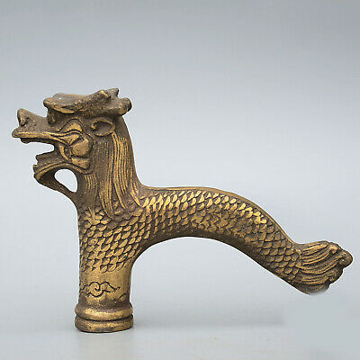 Collect Old Bronze Hand-Carved Myth Dragon Auspicious Delicate Walking Stick