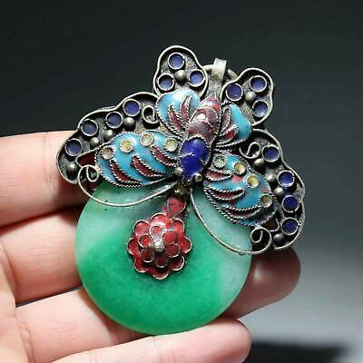 Collectable China Old Cloisonne Inlay Jade Hand-Carve Butterfly Delicate Pendant