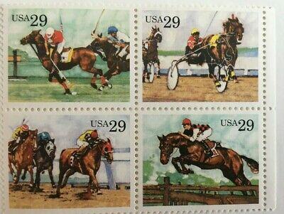 Scott 2756-59  Sporting Horses, Block of 4 - .29 cents  postage stamps MNH