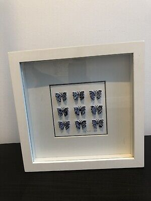 White Framed 3D Butterfly Hanging Picture Wall Decor- Signed