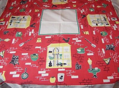 """Vintage Red and White Tablecloth with Vintage Kitchen Items Bright  51"""" x 46"""" Ni"""