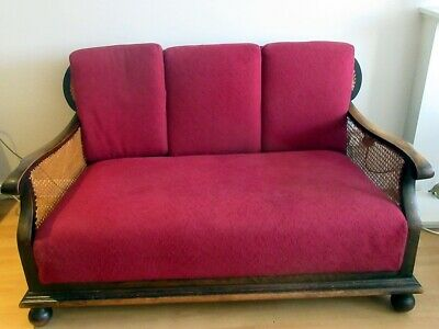 Late Victorian Mahogany Bergere Settee/Sofa/Couch