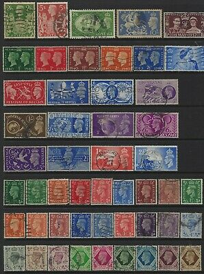 GB KGVI King George VI Small collection of 50 good used Stamps all different