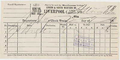 London & North Western Railway - Parcels Way Bill from Liverpool Lime St (1890s)