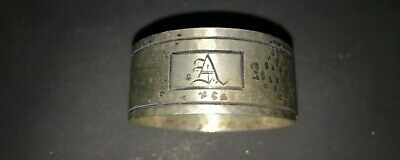 """Antique Arts & Crafts sterling silver Napkin Ring """"A"""" initial monogram"""