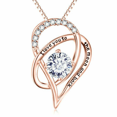"18K Rose Gold I Love You TO THE MOON & BACK Heart Necklace  18"" free gift box."