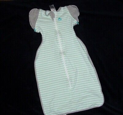 Love to Dream Swaddle UP 50/50 Green White Gray Stripe Size Large 18.5-24 lbs