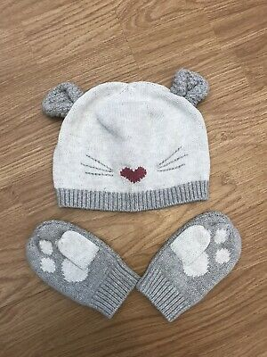 Girls Little White Company Knitted Hat & Mittens 1-2 Years BN