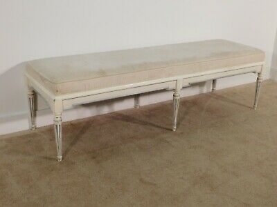 MASSIVE Baker Furniture Company French Louis XVI Upholstered End of Bed Bench #2