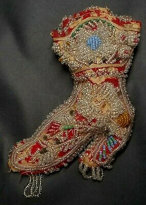 Antique Iroquois Whimsey Beaded Boot Pin Cushion Native American Art 1900-1910