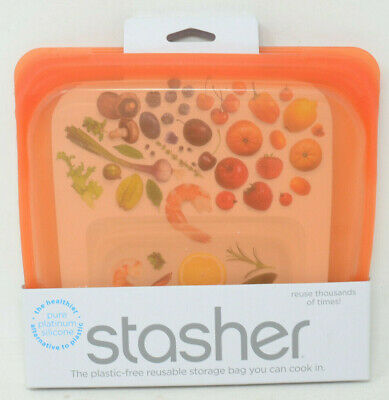 Stasher Reusable 15 oz. Silicone Food Storage Bag in Citrus