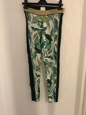 BNWT Michelle Morin H&M Leaf Print Gold Detail Leggings Age 12-13