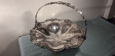 Antique Victorian Old Sheffield Plate Basket Bowl Marked 'G.E'