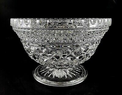Wexford Anchor Hocking Footed Glass Candy Dish Diamond Point Criss-Cross Pattern