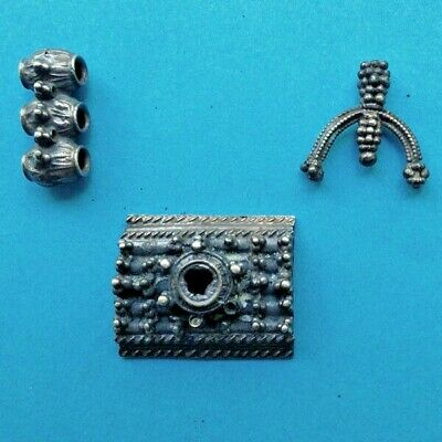 3BAH Part of the late Byzantine medieval silver funeral(belt and earring)  10.5g