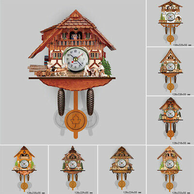 Wooden Cuckoo Time Wall Clock Bell Retro Wall Clock Antique Pendulum Auto Swing