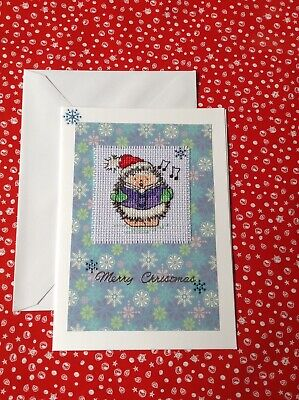 Completed cross stitch christmas card, Margaret Sherry carol singing hedgehog