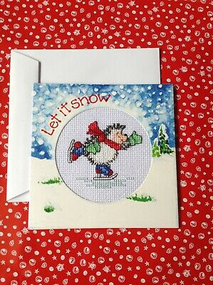 Completed cross stitch christmas card, Margaret Sherry ice skating hedgehog