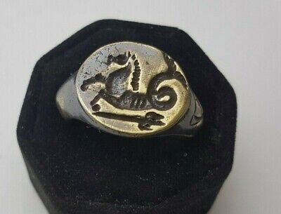 Ancient Bronze Seal  Ring-Vintage-Antique ROMAN-BRONZE-RARE