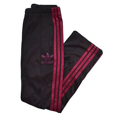 Vintage Adidas Womens Trackpants Black Pink Striped Bottoms SIze 10