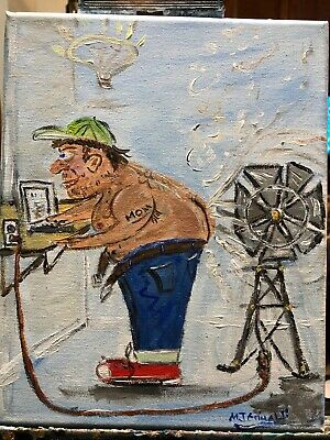 "Fine Art Painting by Artist  M.J.Grimaldi Called  "" The Idea Man!""- Hysterical"