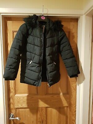 Girls Black Hooded School Coat Age 8-9  Asda George