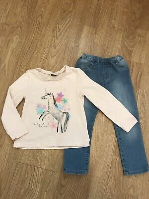 Girls Next Unicorn Top & H&M Jeggings 2-3 Years