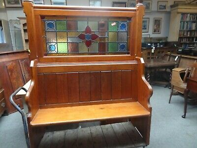 pine settle with stained glass panel
