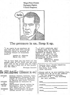 """Vietnam -- 1971 """"The Fall Anti-War Offensive Is On!"""" Nixon Protest Flyer"""