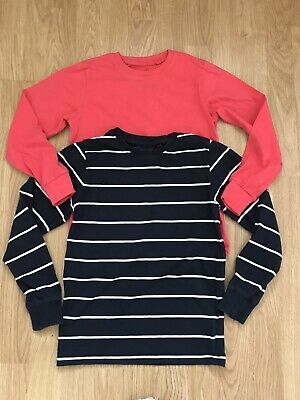 Boys Next Coral & Navy Stripy Long Sleeved Tops 8 Years
