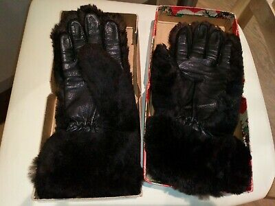 Vintage DENTS Ladies Brown Fur & leather Rabbit Coney lined Gloves Size 7 1950s