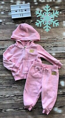 Baby Girls Pink Velour Designer Juicy Couture Tracker Set Outfit Genuine VGC
