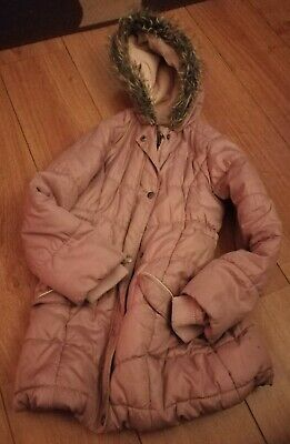 Girls Pink Padded Lined Winter Coat With Hood Age 9-10 Years Nutmeg