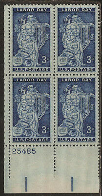 1956 United States Plate Block of 4: Scott #1082 ( 3¢ - Labor Day Issue ) MNH