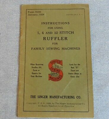 Original Singer Sewing Machine Ruffler Instruction Manual 1929 Antique