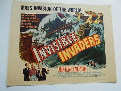 Invisible Invaders 1959 sci-fi half-sheet movie poster Carradine horror zombies