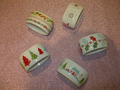 portmeirion christmas wish napkin rings set of 5 - xmas dinner table decoration