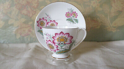 Vintage Floral Bone China Tea Cup and Saucer by Queen Anne