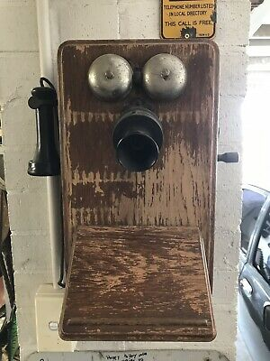 Antique Collectable Wooden Wall Phone Telephone 1910s