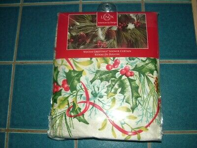 """Lenox """"Winter Greetings"""" Holiday Shower Curtain..new"""