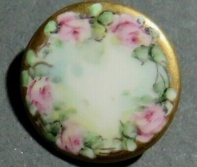 Antique Hand Painted Porcelain Button - Pink Roses