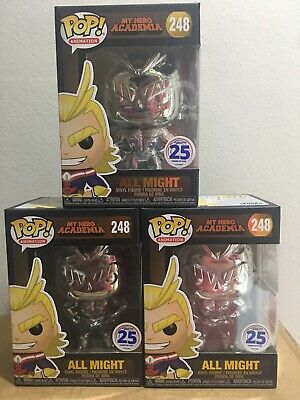 Chrome All Might Funko POP!  NYCC 2019 Funimation Exclusive #248 2w/POPDEFENDER