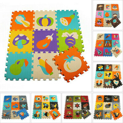 9Pcs Baby Crawling Puzzle Mats Soft EVA Foam Kids Play Floor Carpet Interlocking