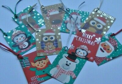 Pack of 10 Assorted Christmas Gift Tags with Ribbons Handmade (B)