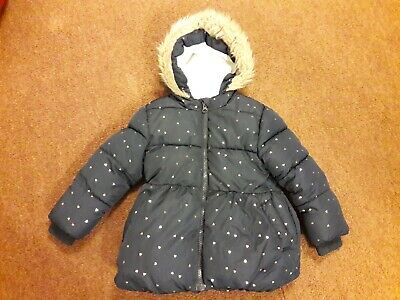 Primark Girls Navy Blue with Gold Stars Padded Jacket with Fleece lining.
