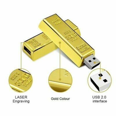 Clé usb 64 Go  Gold Bar 2.0 Flash Drive Disk Storage Mémoire Pour PC Wins 7/8/10
